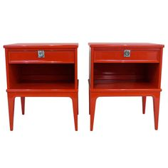 Pair of Red Lacquered End Tables | From a unique collection of antique and modern end tables at http://www.1stdibs.com/furniture/tables/end-tables/