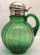 Tubby Optic green pattern glass Victorian syrup pitcher Beaumont Glass 1890