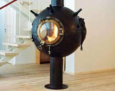 Fireplace from sea mines by Estonian sculptor Mati Karmin