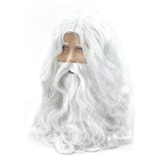 Deluxe White Santa Fancy Dress Costume Wizard Wig and Beard Set Christmas Halloween