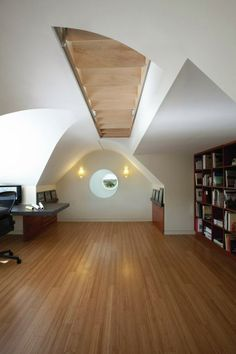 A retractable stair leads to the roof deck.