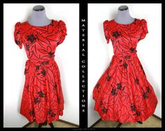JUST DUCKY VTG 80's red black floral dress/ rockabilly/ swing/ 50s style/ short sleeve/ full circle skirt/ mid length/ party/ dance/ holiday