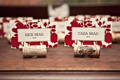 Wine cork name holders @Angie Marin I was thinking this would go with your wedding location if you go with the vineyard. cool idea.