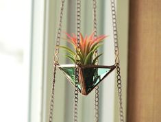 Air Plant Holder Mini 3 Tiered Green Copper by SNLCreations