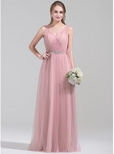 A-Line/Princess V-neck Floor-Length Ruffle Beading Sequins Zipper Up Regular Straps Sleeveless No Other Colors Spring Fall Winter General Plus Tulle Bridesmaid Dress Wedding Party Dresses, Prom Dresses, Formal Dresses, Tulle Bridesmaid Dress, Ruffle Beading, Special Occasion Dresses, Ruffles, Dream Wedding, Fashion Dresses