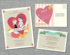 Wedding Invitation Suite Custom Cartoon printable design - Jamboree design