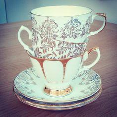 Vintage Mismatched Teacups & Saucers