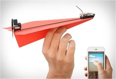 SMARTPHONE CONTROLLED PAPER AIRPLANE PowerUp 3.0 turns your self-made paper airplane into a smartphone-controlled flying machine!