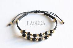 Black and Gold Beaded Macrame Bracelet by PASEEA on Etsy, $11.00
