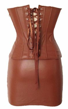 Leather Corset Outfit Shapewear Brown