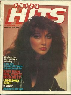 "Kate Bush on the cover of ""Smash Hits"" magazine, United Kingdom, May Photo by Brian Aris, Music Magazines, South London, Vintage Music, Vintage Style, Teenage Years, Pop Music, Blues Music, Record Producer, Celebrities"