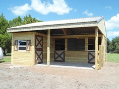 small two stall horse barn with feed/tack room