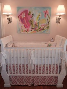 Project Nursery - Custom Crib Skirt made with Braemore Secret Gate - Blossom Benjamin Moore Pristine