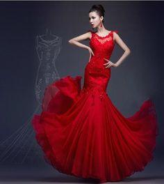 2017 Sheer Wedding Dresses Red Lace Chiffon Mermaid Bridal Evening ...