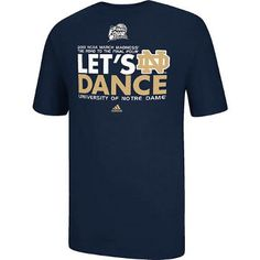 2013 Notre Dame Basketball Road to the Final Four 'Let's Dance' T-Shirt. It's March and it's time for Notre Dame Basketball to Dance! Support the basketball team and show your Notre Dame colors in this short sleeve t-shirt with printed 'Let's Dance' March Madness graphics. Shipping to begin on Thursday, March 21st. 100% Cotton, Navy.