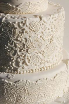 lace wedding cake #white. Although this picture looks a bit off white. I would rather see this in solid white.
