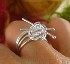 Items similar to As seen in May issue of Yarnwise UK - knit me somethin' ring - sterling silver knitting ring, gift for knitter, for the love of knitting on Etsy Wire Rings, Wire Jewelry, Jewelry Crafts, Jewelry Rings, Jewelery, Jewelry Accessories, Handmade Jewelry, Jewelry Design, Gold Jewelry