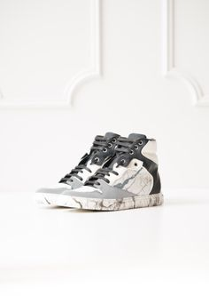 White Marble-Print High Top Sneakers