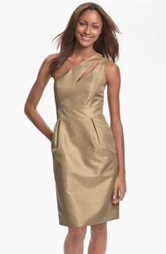Make it metallic! ML Monique Lhuillier #Bridesmaids One Shoulder Dress (#Nordstrom Exclusive)