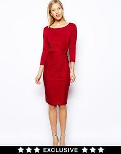 Oasis Plain Twist Dress - red cocktail dress