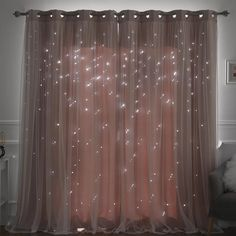 Efird Tulle Overlay Star Cut Out Blackout Thermal Grommet Curtain Panel – Curtains Cute Room Decor, Teen Room Decor, Living Room Decor, Bedroom Decor Lights, Easy Diy Room Decor, Blush Bedroom Decor, Cool Lights For Bedroom, Teenage Girl Room Decor, Cheap Room Decor