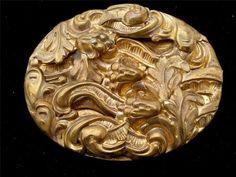 Vintage Floral Sash Pin Art Nouveau Style Gilded Brass Large Oval Brooch | eBay
