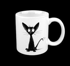 Gothic cat coffee mug!