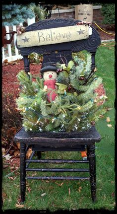 Prim Christmas Vignette...with old chair, snowman & pine...Teresa's Creative Whims.