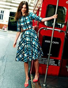 """Boden: Amy dress, 100% cotton, lined in poly, $198. Here in """"green pained check""""; there is a also a bright """"pink painted check"""" and a dark """"navy painted check."""" Practical? Not really, but green plaid, you had me at hello."""