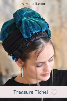 """Premium Collection!This stunning, handmade headscarf or tichel (""""mitpachat"""") embodies a unique and fashionable presence.It is a true work of art that has a beautiful, sparkling, black and Turqoise design. No Slip Headbands, Awesome Gifts, One Hair, Small Shops, Love To Shop, Special Events, Compliments, Festive, Best Gifts"""