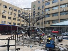 Test installation for climbing rope tower playground at Dreamland Playground factory Indoor Trampoline, Trampoline Park, Ninja Warrior Course, Park Equipment, Climbing Rope, Soft Play, Indoor Playground, Playgrounds, Tower