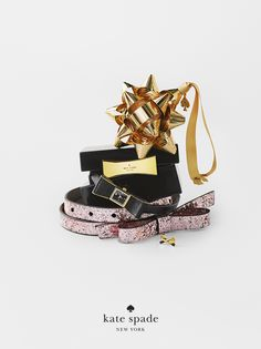 best-selling holiday gifts. because she loves a well-placed bow. featuring things we love 3 piece stud set, bow ornament, kenmare strap watch, glitter bow belt, and garden drive jewelry box. #getgifted