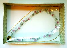 Chance glass teardrop shaped dish, as new in original box with label. Rose pattern, rose patterned chance glass snack tray, tear drop plate