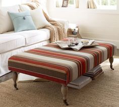 Tara Ottoman - Dexter Stripe - love with the floral chair and red couch, yellow walls Furniture Upholstery, Home Decor Furniture, Home Furnishings, Fabric Ottoman, Room Planning, Yellow Walls, Furniture Restoration, Family Room, House Design