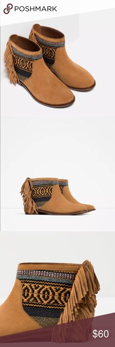 Zara leather ankle boots *100% GENUINE & AUTHENTIC ZARA ITEM*  Stunning Zara Suede Leather Fringed Ankle Boots  Tan brown fringed ankle boots.  More pics to follow....   COMPOSITION:- 100%  leather Zara Shoes