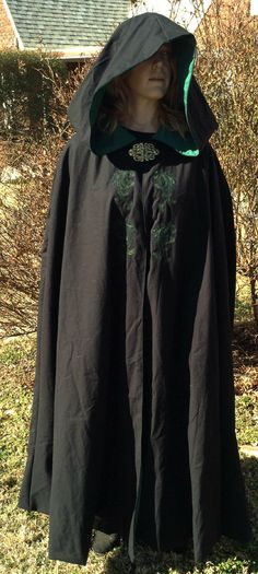 Black cloak with embroidered design. lined by cloakedinshadows, $200.00