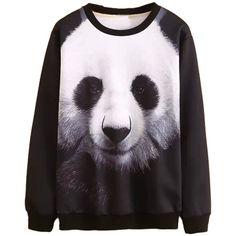 Choies Black Panda Print Sweatshirt (£19) ❤ liked on Polyvore
