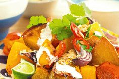 Roasted kumara and pumpkin salad with coconut chilli and lime dressing recipe, NZ Womans Weekly – visit Bite for New Zealand recipes using local ingredients – bite.co.nz