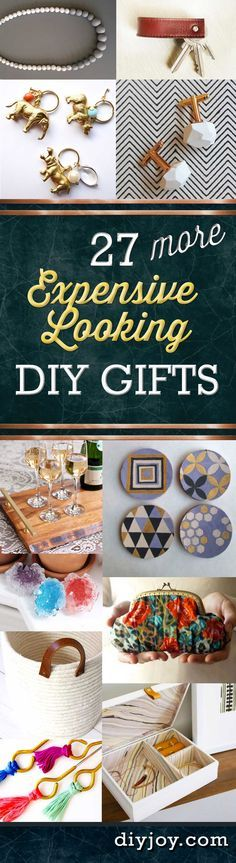 27 MORE Cheap DIY Gifts. Crafts & DIY Gift Ideas for Him, for Her, Family, Friends, neighbors teachers and coworkers.  Perfect for Birthday, Christmas, Mom and Dad. http://diyjoy.com/homemade-diy-gifts-pinterest