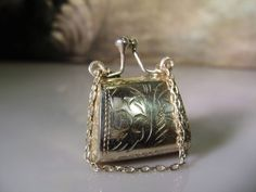 1940s, Miniature Pill Box,Miniature Purse,Sterling Silver Purse,Purse Pill Box,Purse Pendant,Sterling Silver Chatelaine Chain – Collectible by CarolsVintageJewelry on Etsy