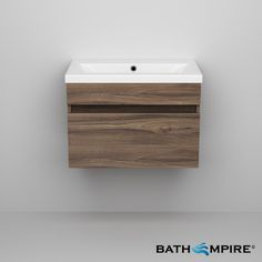 600mm Walnut Basin Cabinet Wall Hung Basin Cabinet | Trent - BathEmpire