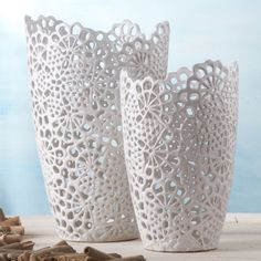 Two's Company White Lace Set of 2 Cutwork Vases Includes 2 Sizes - Ceramic – Modish Store Modern Interior Design, Interior Design Inspiration, Design Ideas, Luxury Home Decor, Diy Home Decor, Lace Vase, Bliss Home And Design, Doilies Crafts, Vase Crafts