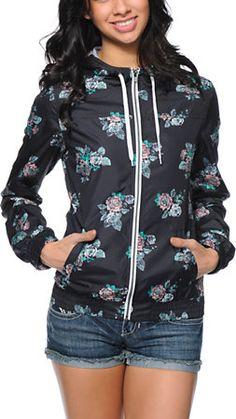 Empyre Girl Carmen Black Floral Print Windbreaker Jacket at Zumiez : PDP