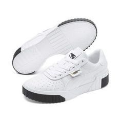 PUMA Cali Women's Trainers in White/Black size - Shoes Sneakers Low Top Sneakers, Puma Sneakers, Best Sneakers, White Sneakers, Vans Old Skool, Puma Slippers, Mens Puma Shoes, Puma Shoes Online, Puma Cali