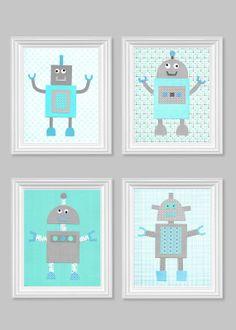 Printable robot nursery decor aqua and gray by for Robot baby room decor