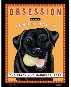black lab art print gift for dog owner lover retro pets tennis ball