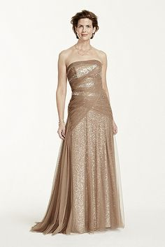 Sequin Fit and Flare Dress with Mesh Overlay VC3025