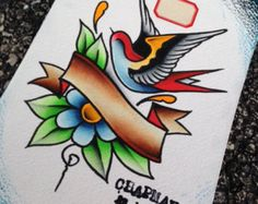 Swallow and Banner Original Tattoo Flash