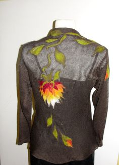 intersting hand needle felting on light weight sweater. SWEATER  FELTED appliqued art  4446 EU   eCOfRENDLY by MADEVALINEN, $99.00
