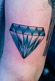 Crstal Blue Diamond Tattoo On Elbow